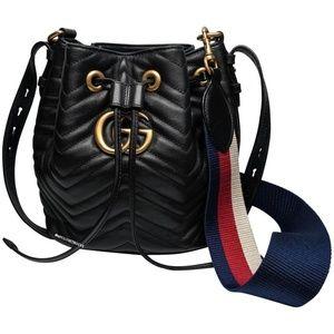 Gucci Marmont Web Black Bucket Bag